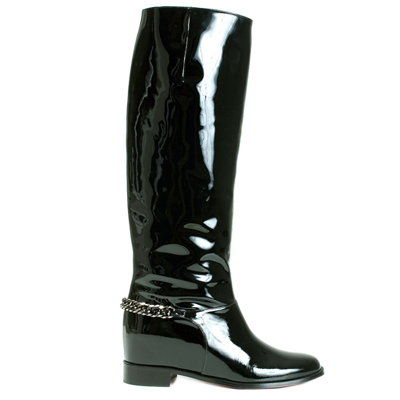 Christian Louboutin Black Patent Leather Cate Chain Biker Boots